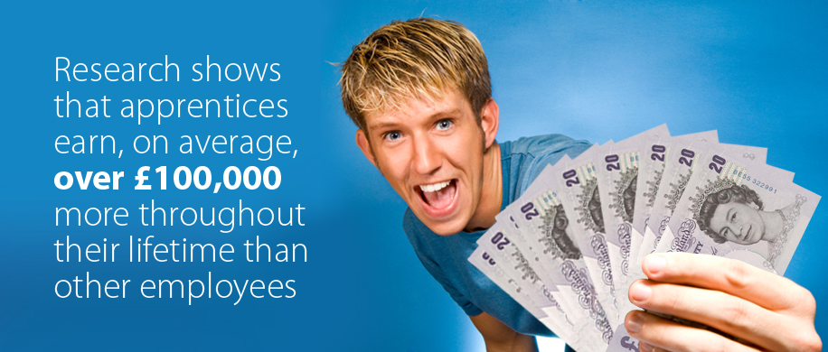 Research shows that apprentices earn, on average, over £100,000 more throughout their lifetime than other employees